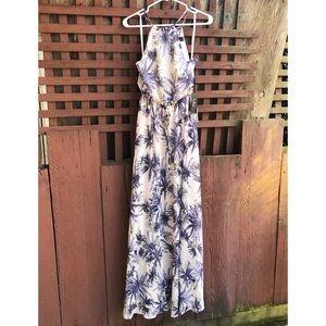 NWT Lulu's Palm Print Blush & Blue Halter Dress